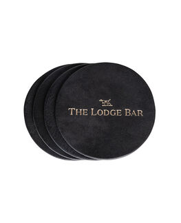 The Lodge Bar Leather Coasters, NERO, hi-res