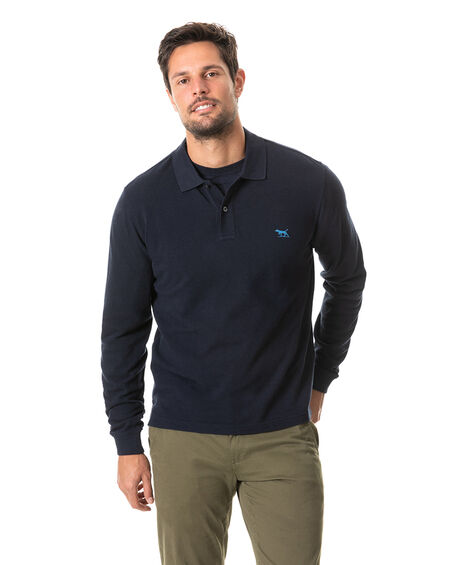 Long Sleeve Gunn Polo, NAVY, hi-res