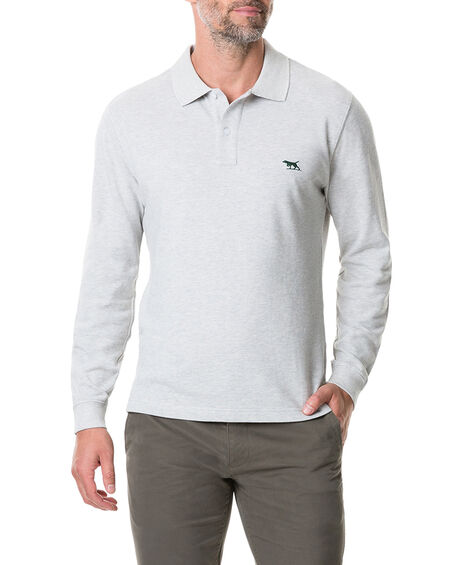 Long Sleeve Gunn Polo, STONE, hi-res