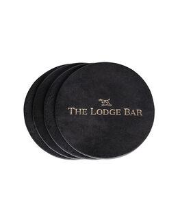 The Lodge Bar Leather Coasters, NERO, hi-res