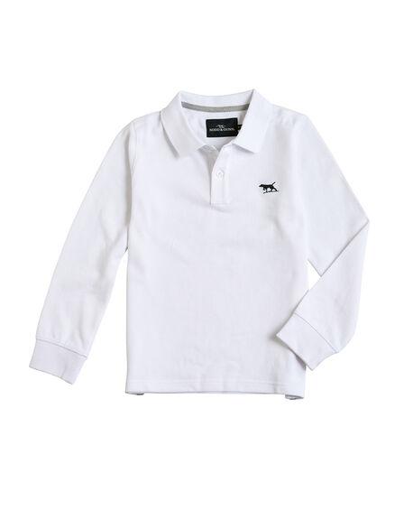 94d90ac1e Boys Long Sleeve Son Of A Gunn Polo, WHITE, hi-res