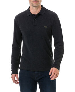 Long Sleeve Gunn Polo, CHARCOAL, hi-res