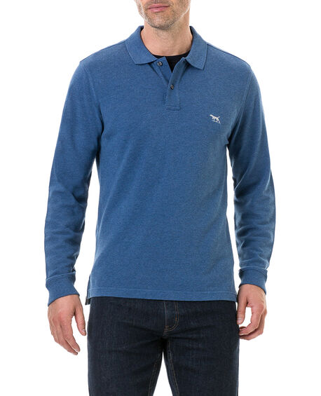 Long Sleeve Gunn Polo, INDIGO, hi-res