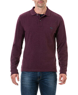 Long Sleeve Gunn Polo, BURGUNDY, hi-res